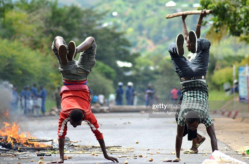 Protest against renomination of President Pierre Nkurunziza in Burundi : News Photo