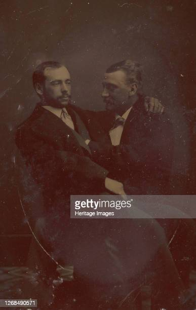 Two Men Seated, One in the Other's Lap, with Their Hands in Suggestive Positions, 1880s. Artist Unknown.