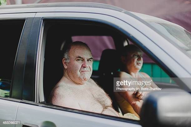 Two men sitting in the car
