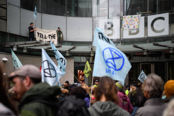 GBR: Extinction Rebellion Protests Move to The BBC HQ In London