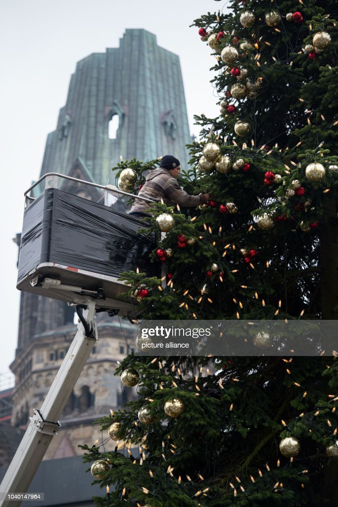 two men stand on an elevated platform decorating a christmas tree on the christmas market at