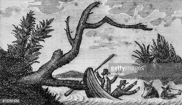Two men struggle to save their lives and the lives of their horses after their canoe strikes a fallen tree along a river in the early 19th century...