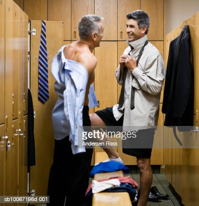Two Men Talking In Locker Room Stock Photo Getty Images