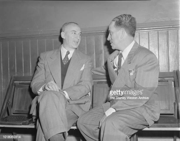 Two men talking in Stillman's Gym circa 1955 in New York City New York