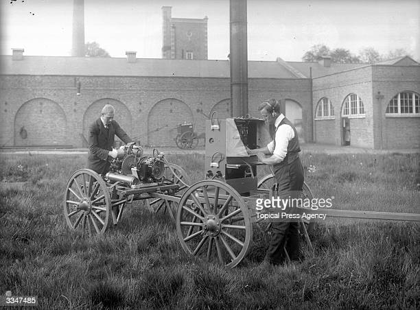 Two men testing a field station at the Marconi Wireless Telegraph Works Chelmsford Essex