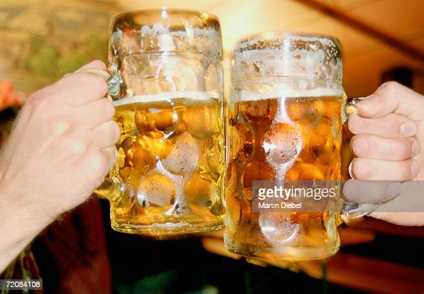 two men toasting with beer steins - beer stein stock photos and pictures