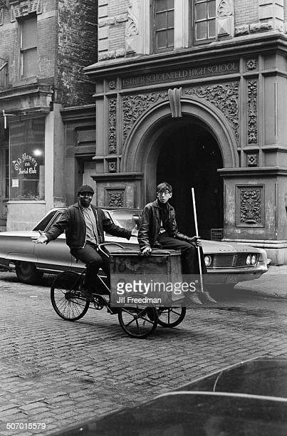 Two men travel through the West Village on a cargo bike New York City USA 1966