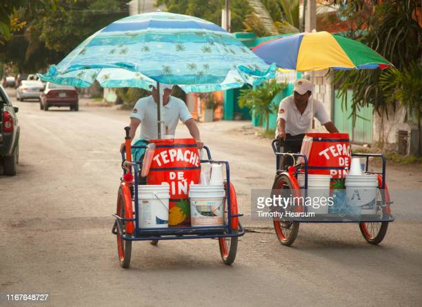 two men under colorful umbrellas pedal tricycles along a road; tulum, quintana roo, mexico - timothy hearsum stock pictures, royalty-free photos & images