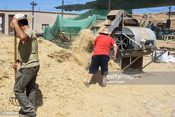 Two men uploading traw trough a machine.