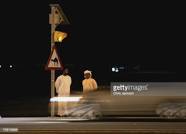 Two men wait next to a camel crossing sign as cars drive pass in Nad Al Sheba on December 13 2006 in Dubai United Arab Emirates