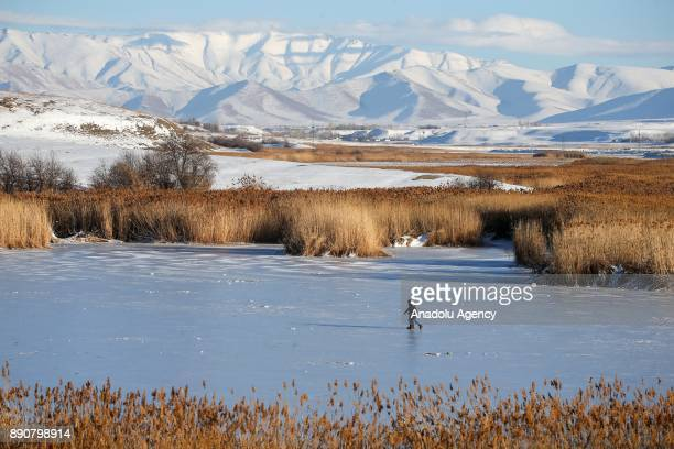 Two men walk on Lake Van as they head to take advantage of frozen surface to fish in Van Turkey on December 12 2017 Hunters dig a hole by breaking...