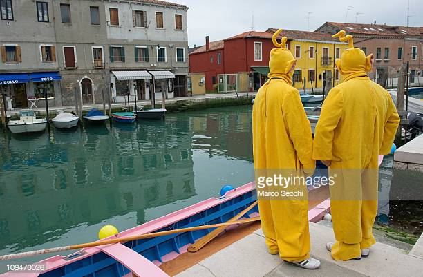 Two men wearing Teletubbies costumes pose in Murano on February 27 2011 in Venice Italy The Venice Carnival is one of the largest and most important...