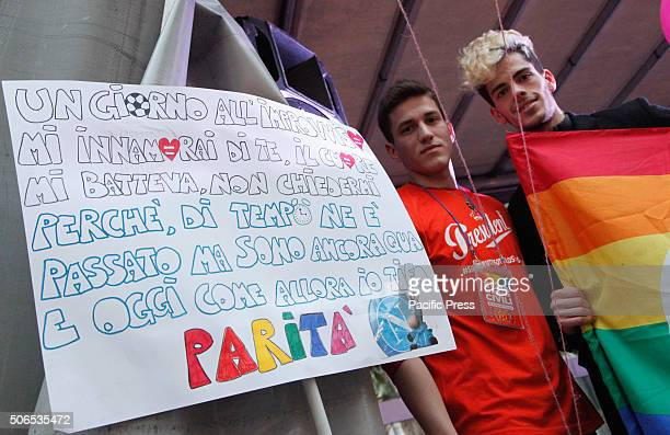Two men with banners during demonstration in Naples People demonstrate for the right of samesex couples to marriage The event was organized by ARCI...