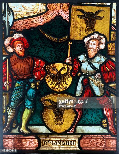 Two men with coats of arms 16th century Two Germans wearing slashed sleeves and particoloured hose with heraldic crests
