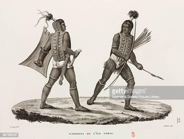 Two men with dagger shield bow and arrows Ombai is now part of Indonesia Illustration from �Voyage autour du monde entrepris par ordre du Roi_execute...