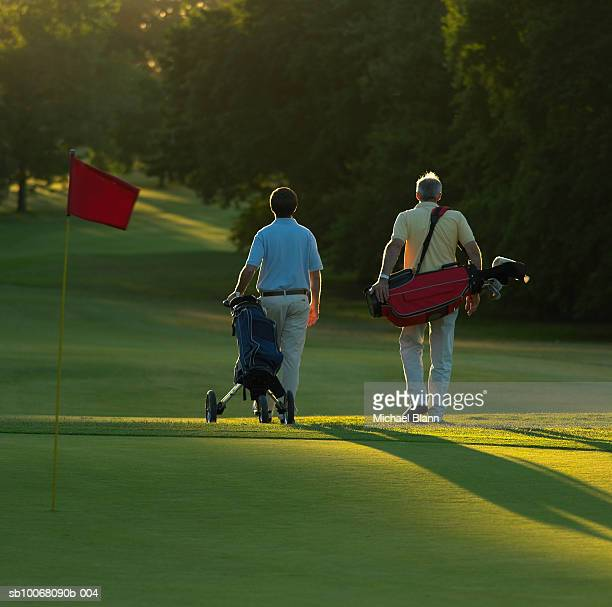 Two men with golf bags on course, rear view