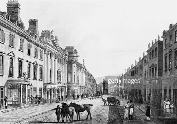 Two men with horses stop to talk in Milsom Street Bath Somerset 1806 After J C Nattes