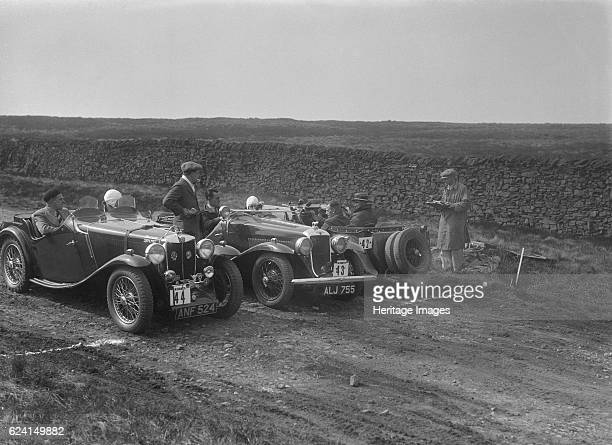 Two MG Magnettes and a Hillman Aero Minx at the Sunbac InterClub Team Trial 1935 Artist Bill BrunellMG Magnette 1271 cc Entry No 42 Driver Hartwell G...