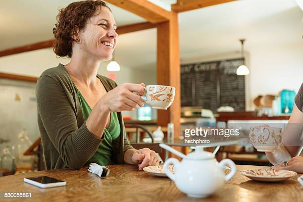 two mid adult female friends chatting in country store cafe - heshphoto stockfoto's en -beelden