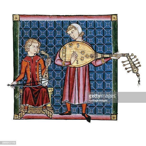 Two minstrels Illustration from the codex of the Cantigas de Santa Maria c 1280 Found in the collection of Monasterio de El Escorial Artist Anonymous