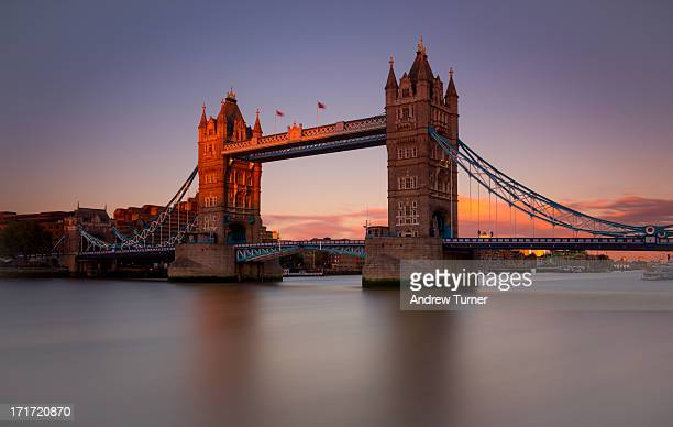 Two minute exposure of Tower Bridge at sunset, captured from the south bank of the river Thames. While the dying sun warmed up the north tower , the...