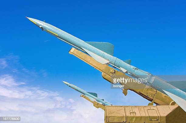 Two missiles aimed at the blue sky