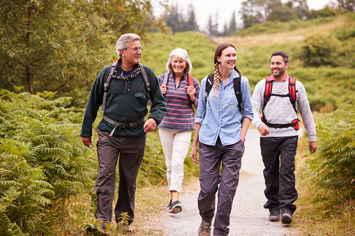 Two mixed age couples walking on a countryside path during family camping adventure, front view 1077690312