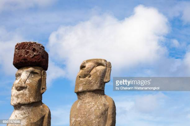 Two Moai Background.  (Easter Island)