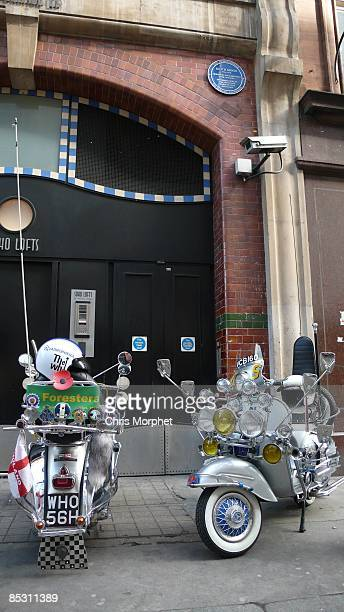 Two mod scooters parked at the unveiling of Keith Moon Commemorative plaque at 90 Wardour Street on March 8 2009 in London