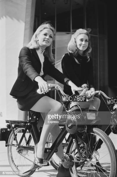 Two models Michele Roca and Anthea Norman on a VéloSoleX 50 UK 27th March 1968
