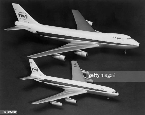 Two models of Boeing planes are compared : Boeing 747 is two and a half times the size of the Boeing 707 , on September 04, 1966. Construction of...