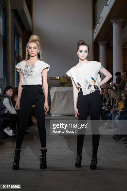 Two models present a creation of work by Textile and Fashion diploma students from Edinburgh College at the gallery floor of the City Art Centre on...