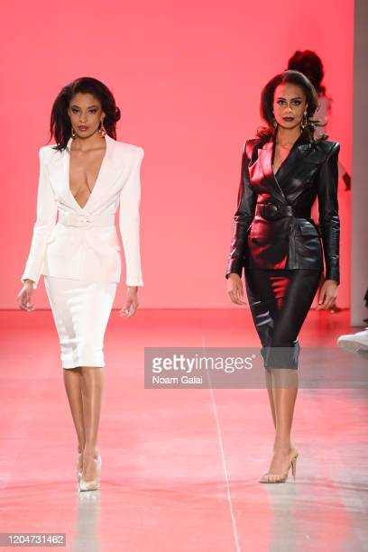Two models walk the runway for the Sergio Hudson fashion show during February 2020 New York Fashion Week The Shows at Gallery II at Spring Studios on...