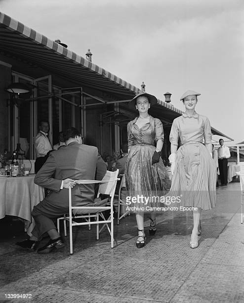 Two models wearing Christian Dior fashions in Venice 3rd June 1951