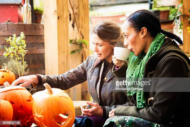 Two moms at Halloween workshop