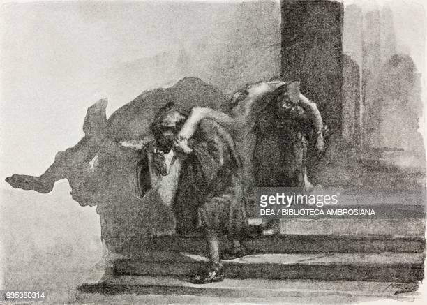 Two monatti carrying a corpse, illustration by Gaetano Previati , from The Betrothed, A Milanese story of the 17th century, History of the Column of...