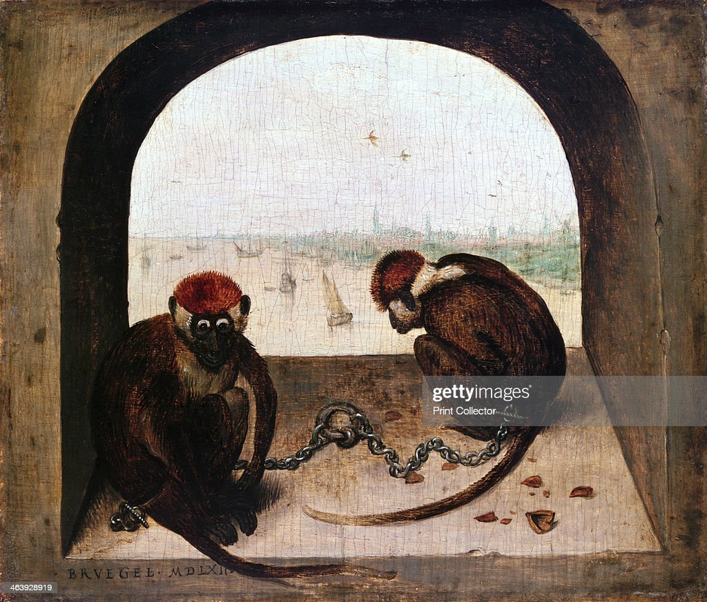 'Two Monkeys', 1562. Artist: Pieter Bruegel the Elder : News Photo. '