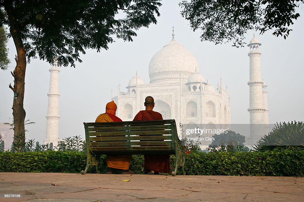 Two Monks at the Taj Mahal : Stock Photo