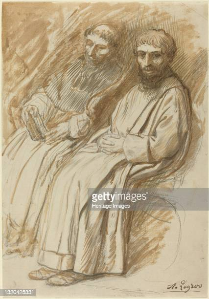 Two Monks Seated in a Church. Artist Alphonse Legros.