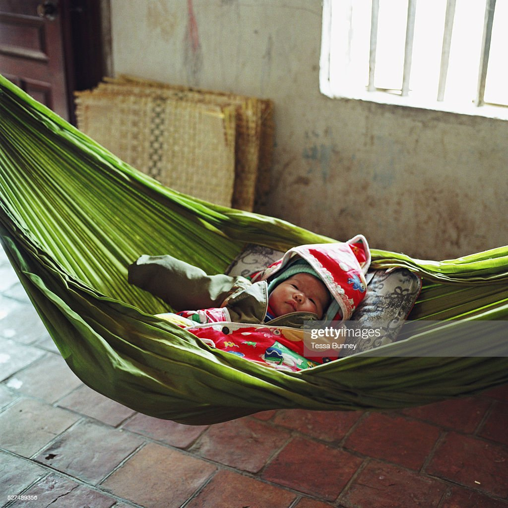 a two month old baby boy asleep in a hammock in tang tien a bamboo vietnam   craft villages   a two month old baby boy asleep in a      rh   gettyimages