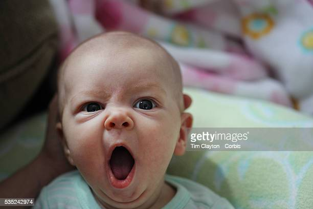 A two month old baby girl makes eye contact with the camera while yawning Photo Tim Clayton