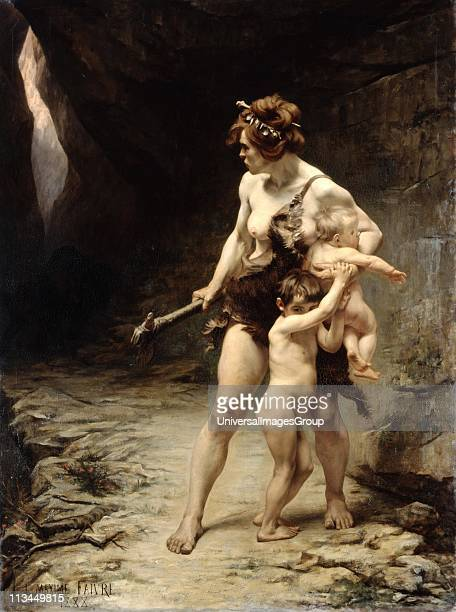 Two Mothers' oil on canvas by LeonMaxime Faivre French painter Prehistoric cavewoman mother clad in animal skin and clutching a club shields her two...