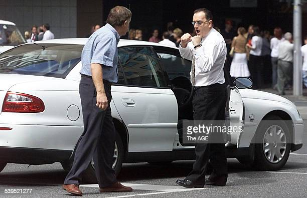 Two motorists in dispute over a traffic incident in the City on the corner of William and Lonsdale street 22 November 2002 THE AGE Picture by PAUL...