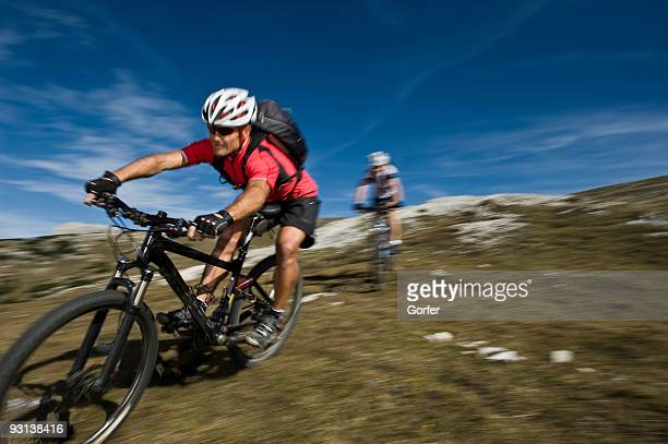 Two Mountain Biker with Blurred Background