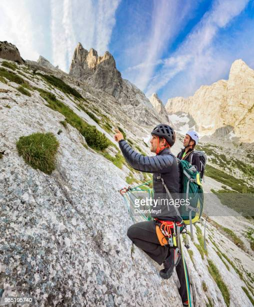 two mountain climber in nationalpark berchtesgaden, mount hochkalter, alps - berchtesgadener land stock photos and pictures