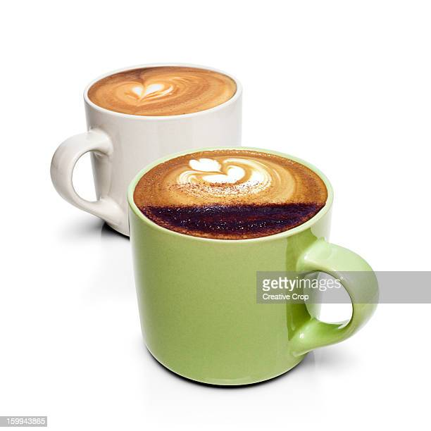 two mugs of coffee - two objects stock photos and pictures