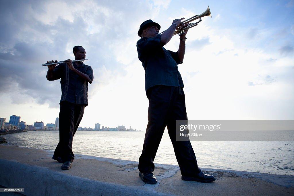 Two Musicians on the Malecon, Havana. Cuba. : Stock Photo