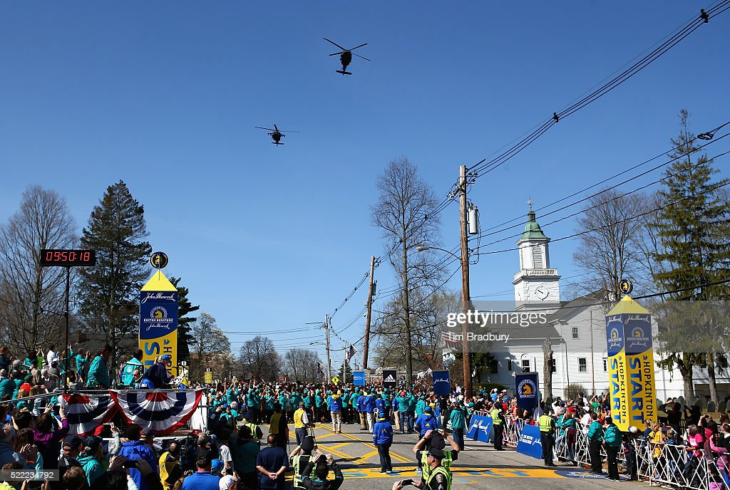 Why Are Helicopters Flying Over Boston Today >> Two National Guard Blackhawk Helicopters Fly Over The Start Line