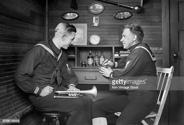 Two naval band members in their barracks