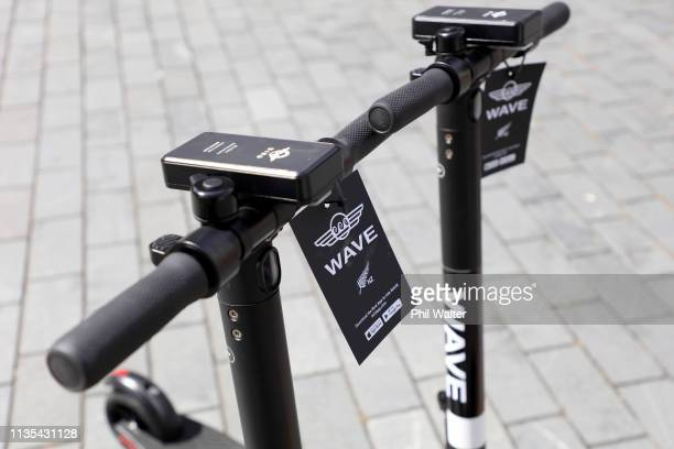 ZEALAND MARCH 13 Two new Wave scooters are pictured in the Auckland CBD on March 13 2019 in Auckland New Zealand Wave has entered the escooter trial...